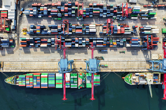 Containers port for international trade